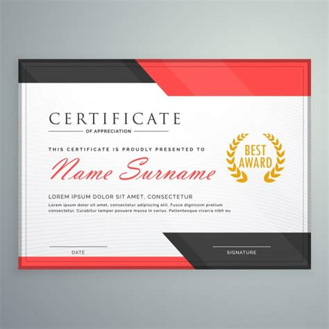 certificate design red modern certificate design with geometric red and black