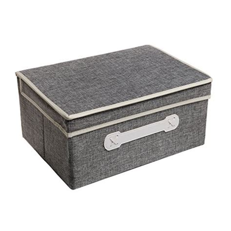 fabric storage boxes decorative gray woven collapsible