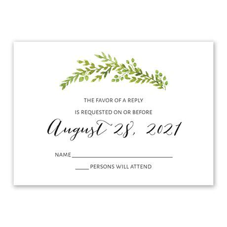 watercolor greenery response card invitations by