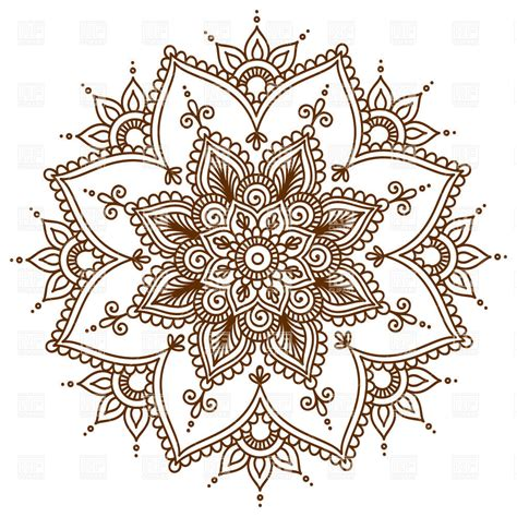 brown round floral mandala royalty free vector clip art