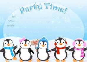 Printable party invitations free winter or holiday invite template
