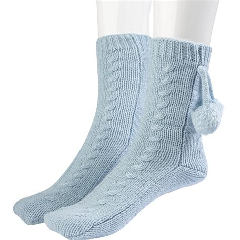 Bed Socks by Womens Thick Acrylic Wool Slenderella Bed Socks Pom Pom