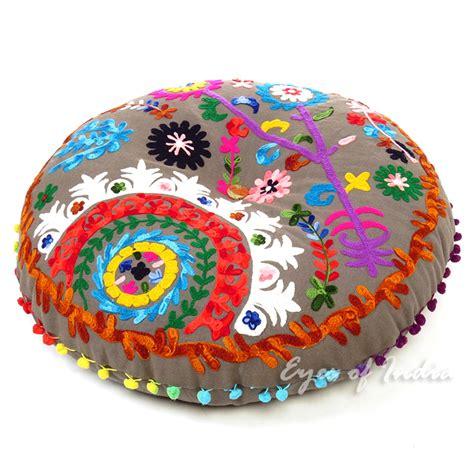 grey boho gray embroidered  bohemian throw colorful floor seating meditation pillow cushion