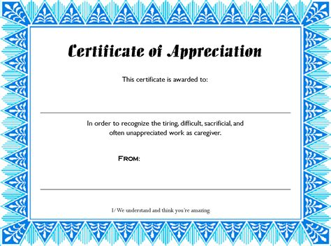 printable certificate template search results for appreciation certificate templates