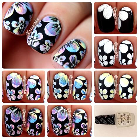 acrylic paint nail tutorial for beginners floral nail tutorial by lynieczka s passions