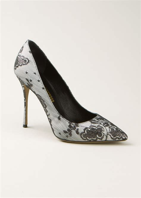 Black And White Patterned Heels | nicholas kirkwood e black and white floral lace pumps in