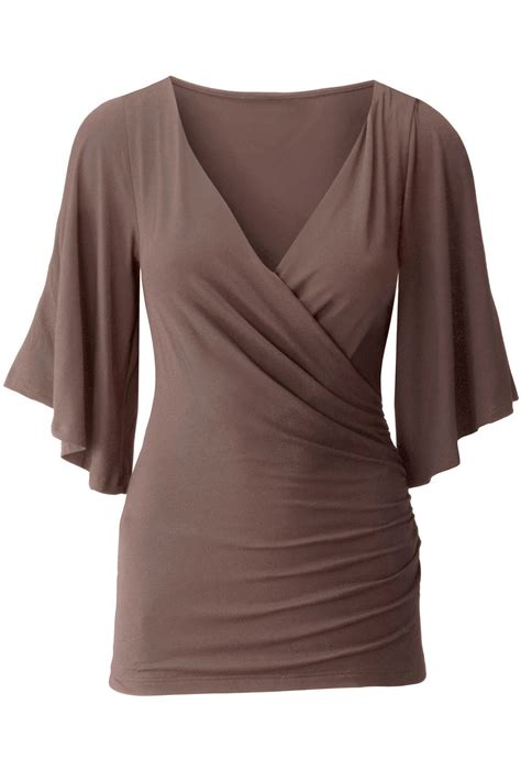 Sleeve Wrap Top in brown v neck slit sleeve wrap top