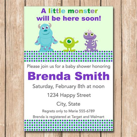Invitation Inc mini monsters inc baby shower invitation boy or neutral 1 00 each printed or 10 00