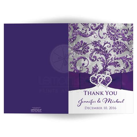 purple thank you card templates wedding photo thank you card purple silver white