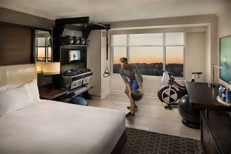 bedroom gym equipment hilton s new design brings the gym to the guest room skift