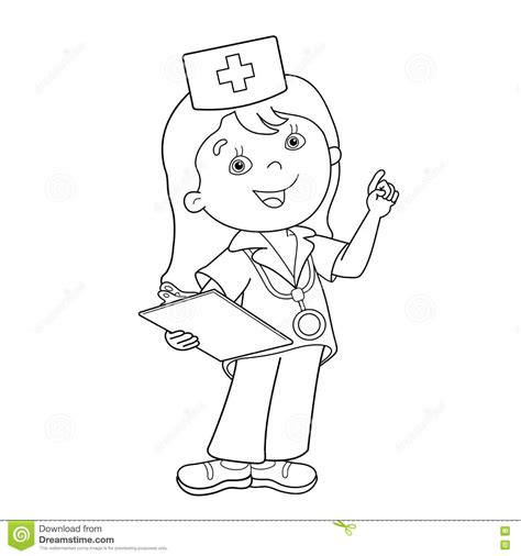 cute doctor coloring page coloring page outline of cartoon doctor stock vector