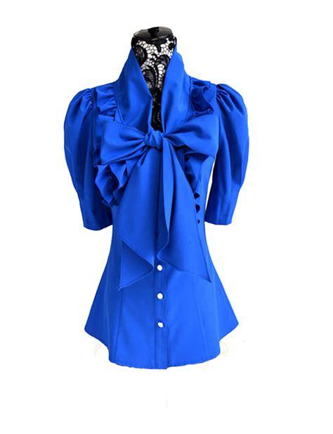 big bow ruffle big bow collar puff sleeves blouse tops shirts