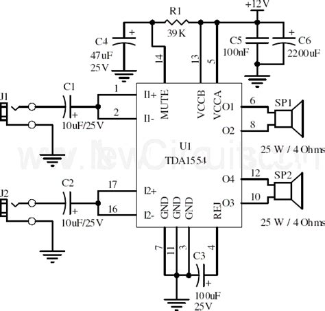 simple stereo lifier circuit diagram 22w stereo lifier using tda1554 circuit diagram