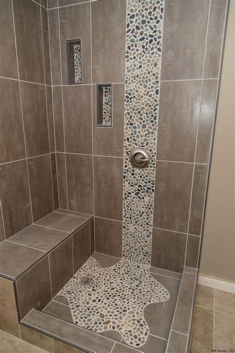 Bathrooms With Tile Showers 25 Best Pebble Tile Shower Ideas On Pinterest River Shower Large Tile Shower And