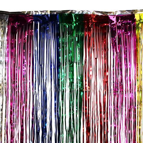 metallic party curtains 3 x8 ft rainbow party curtain metallic fringe foil