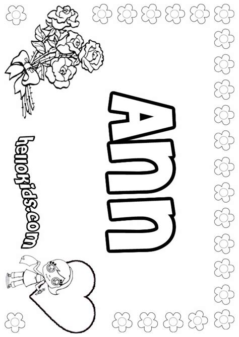 coloring pages for names ann coloring pages hellokids com