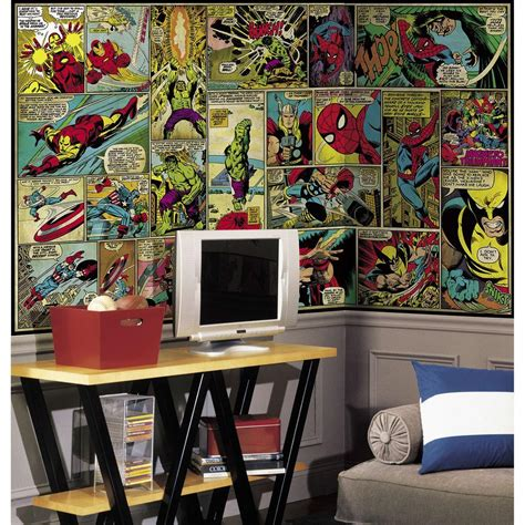 home depot wall murals roommates 72 in x 126 in marvel classics comic panel ultra strippable wall mural jl1290m the