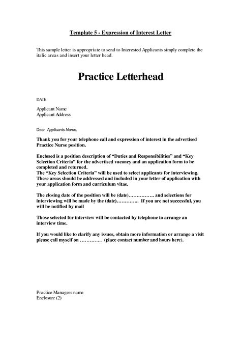 letter of interest template for a how to write a expression of interest letter cover letter