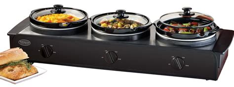 triple electric slow cooker food warmer w three 1 5