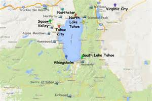 Lake tahoe map attractions and ski areas adapted from google maps