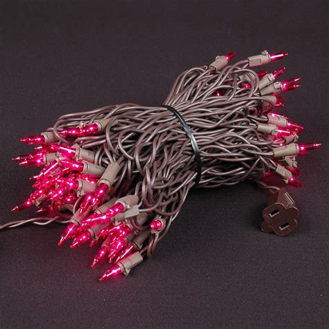 pink christmas mini lights set 100 light brown wire 50