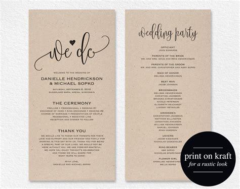 Wedding Program Template Wedding Program Printable We Do Free Wedding Program Templates
