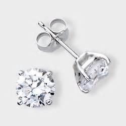 ear studs for 1 ct cz 14k white gold earring studs