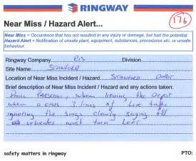 ringway update reporting of near misses