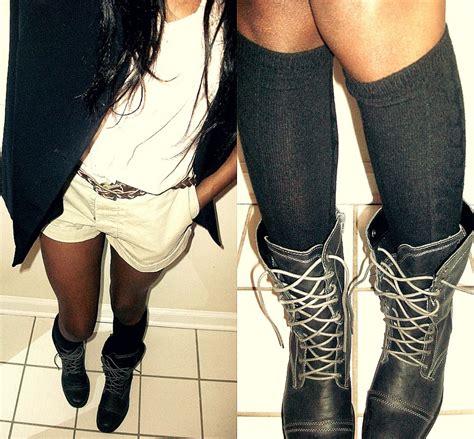 brittni rambo tj maxx combat boots target knee high socks thrift store black blazer thrift