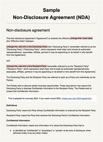 Non Disclosure Agreement Template by Sle Non Disclosure Agreement Template Everynda