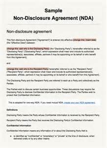 Nda Agreement Template Sample Non Disclosure Agreement Template Everynda