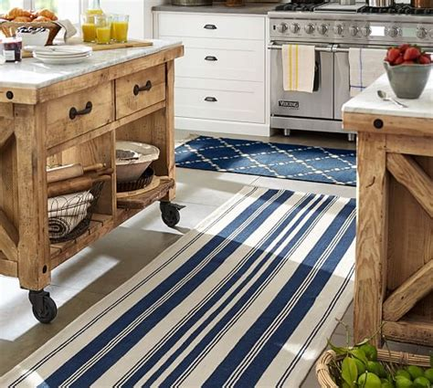 Oxford Kitchen Yarns by Oxford Stripe Recycled Yarn Indoor Outdoor Rug Blue