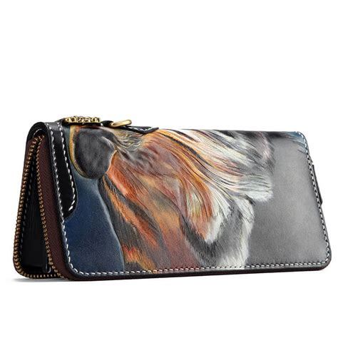 Handmade Biker Wallets - handmade leather biker wallet with tiger makkashop