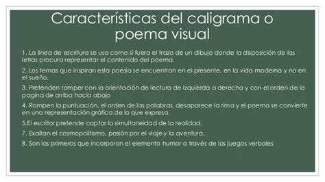caracteristicas de caligrama cubismo literario caligramas