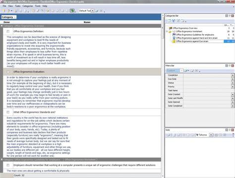 Office Ergonomics Checklist To Do List Organizer Checklist Pim Time And Task Management Ergonomic Office Checklist Template