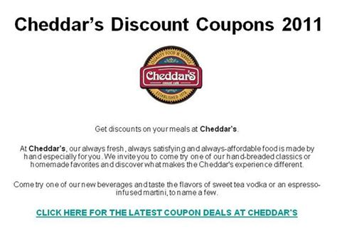Cheddars Gift Card Discount - cheddar s discount coupons 2011 authorstream