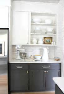 shelves upper kitchen cabinets kitchen baking area with open shelving and two toned cabinets