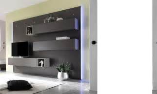 ensemble meuble tv lumineux laqu 233 gris mat moderne venga