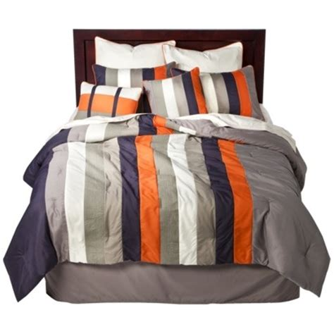 navy and orange comforter striped 8 piece bedding set navy orange 60 queen target
