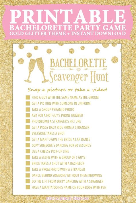 free printable hen party decorations bachelorette scavenger hunt nashlorette hen night