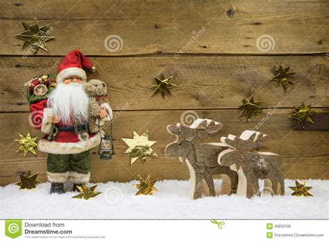 printable santa claus decorations christmas decoration santa claus with wooden reindeer on
