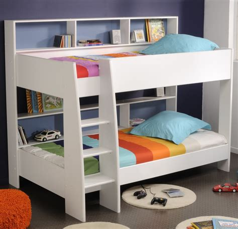 bed with shelves white wooden bunk bed with shelves beside also colorful