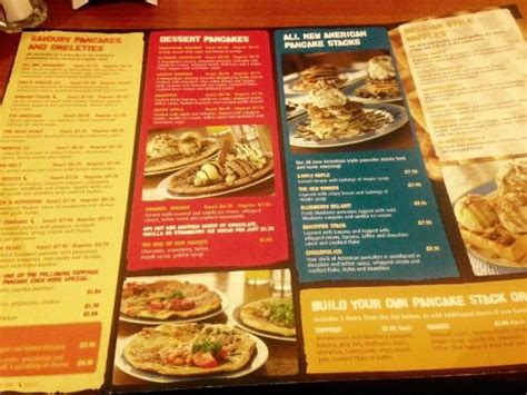 pancake house menu pancake house menu picture of center parcs elveden forest elveden tripadvisor