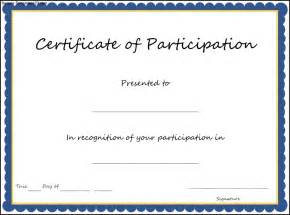 participation certificate templates certificate of participation template sle templates