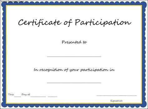 certificate of participation template sle templates