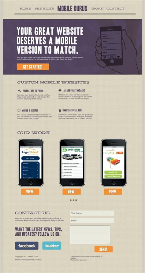 mobile web design inspiration mobile gurus mobile website development webdesign