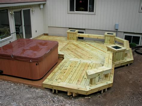 Wood Deck Design For Hot Tub