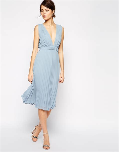 Pleated Dress Tosca asos pleated midi dress with plunge neck in blue lyst