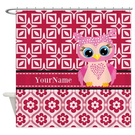 pink owl curtains cute pink owl personalized shower curtain by