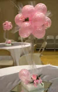 balloon centerpieces for tables wedding in pink and white